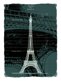 White Eiffel Tower Paris in Green