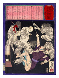 Ukiyo-E Newspaper: a Burglar Being Distressed by Ghosts of His Murdered Victims