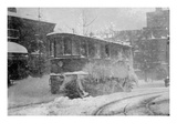 New York Trolley Car Makes its Way During the Blizzard of 1922