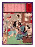 Ukiyo-E Newspaper: a Noodle Shop Wife Throw a Boiling Pot to Her Husband