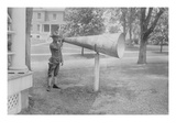 Soldier Plays His Bugle into a Huge Megaphone at Fort Totten  Bayside Queens New York