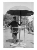 Policeman Directs Traffic from Underneath an Umbrella in Newport  Rhode Island