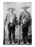 Pancho Villa's Men Urbino and Iluarte Stand at Attention with Rifles  Bandoliers and Pistols