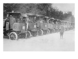 A Fleet of Trucks Each with its Own Driver Is Arrayed and Ready to Transport Troops