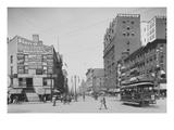 Trolleys and Pedestrians on Main Street in Buffalo  New York