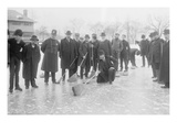 Curling in Central Park with Men Having Brooms at the Ready over the Ice