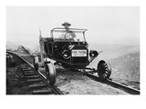 Fire Patrol Rides Steel Wheeled Car over Railroad Tracks