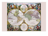 Stereographic Map of the World with Classical Illustration