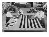 Flags Laid Out on Cutting Table to Be Sewn by Seamstresses During the Period of the Great War