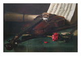Still Life with Violin  Sheet Music and a Rose