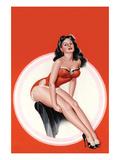 Eyeful Magazine; Brunette in a Red Bathing Suit Reproduction d'art par Peter Driben