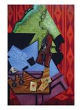 Violin and Playing Cards Reproduction d'art par Juan Gris