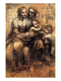 Mary, Christ, St. Anne and the Infant St. John Reproduction d'art par Leonardo Da Vinci