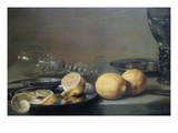 Still Life with Two Lemons  a Facon De Venise Glass  Roemer  Knife and Olives on a Table