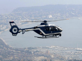 A Gendarme Helicopter is Seen Above the Bay of Cannes