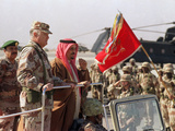 Gen H Norman Schwarzkopf with Saudi Arabian King Fahd Reviewing Troops
