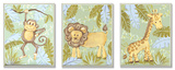 Monkey  Lion and Giraffe Jungle Trio
