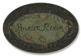 Powder Room Black/Green Floral Oval