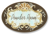 Powder Room Choc/Aqua Crest Top Oval