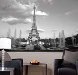 Eiffel Tower Chair Rail Prepasted Mural