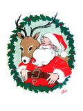 Santa &amp; Reindeer - Jack and Jill  December 1956
