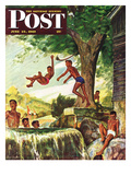 &quot;Swimming Hole&quot; Saturday Evening Post Cover  June 25  1949