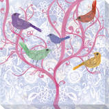 Multicolor Birds on Pink Tree