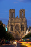 Reims Cathedral at dusk in Champagne France