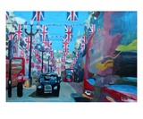 London covered with Union Jack Flags