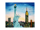 Statue of Liberty with view of NEW YORK
