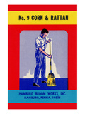 No 9 Corn and Rattan Broom Label