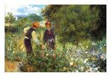 La cueillette des fleurs Reproduction d'art par Pierre-Auguste Renoir