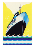 Steamship Cruise Liner Boom Label