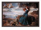 Miranda et la Tempête Reproduction d'art par John William Waterhouse