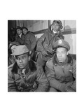 Photograph of Tuskegee Airmen Attending a Briefing in Ramitelli  Italy  March 1945