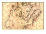 Portolan Map of Italy  Sicily  North Africa and the Mediterranean