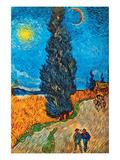Road with Cypresses Reproduction d'art par Vincent Van Gogh