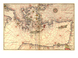Portolan or Navigational Map of Greece  the Mediterranean and the Levant