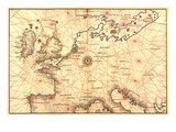 Portolan Map of Spain  England  France  Germany  the British Isles
