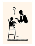 Homemaker or Maid Serves Small Boy in a High Chair