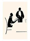 Waiter Takes an Order from a Woman Seated at a Table in a Restaurant