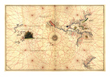 Portolan Map of Western Hemisphere Showing What Will Become the US  Panama and South America