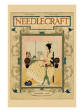 Victorian Girl Does Needlepoint Portrait