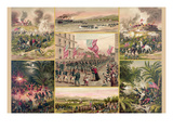 Collage of Events That Symbolize the American Victory Against the Spanish