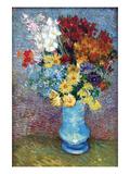 Flowers in a Blue Vase by Van Gogh Reproduction d'art par Vincent Van Gogh