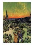 Landscape with Couple Walking and Crescent Moon Reproduction d'art par Vincent Van Gogh