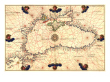 Portolan or Navigational Map of the Black Sea Showing Anthropomorphic Winds
