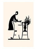 Homemaker Fills a Vase with Flowers