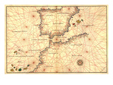 Portolan or Navigational Map of the Spain  Gibraltar and North Africa