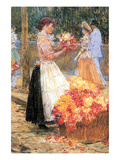 Woman Sells Flowers